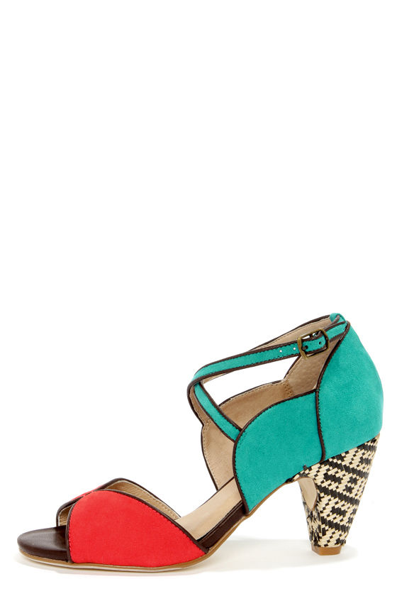 Chelsea Crew Nelly Teal and Red D'Orsay Peep Toe Heels at Lulus.com!