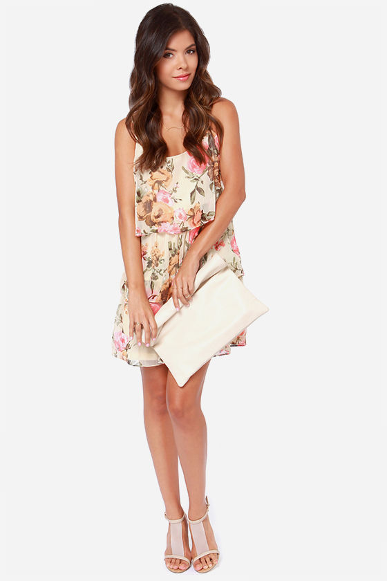 Blossom Like It Hot Cream Floral Print Dress at Lulus.com!