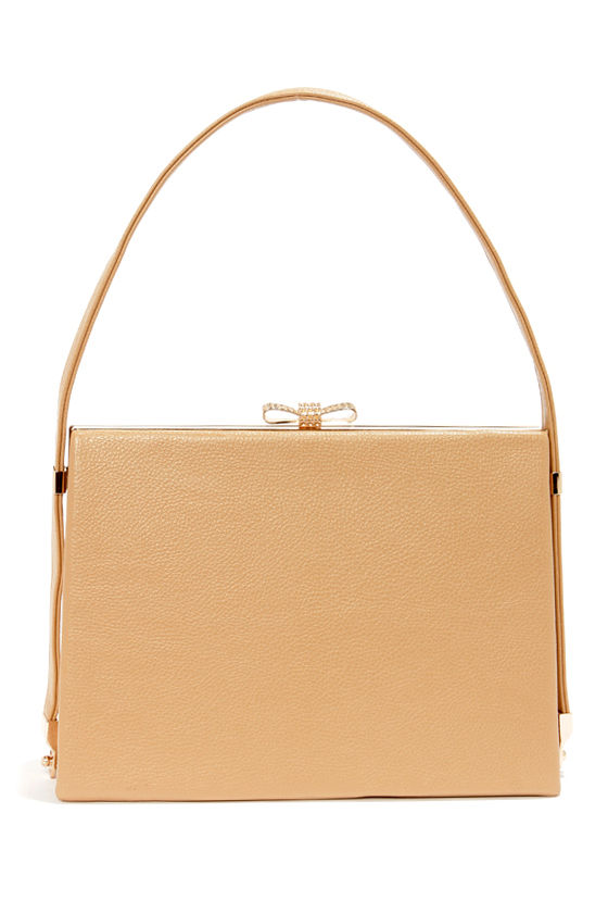 Bow on Top Beige Handbag