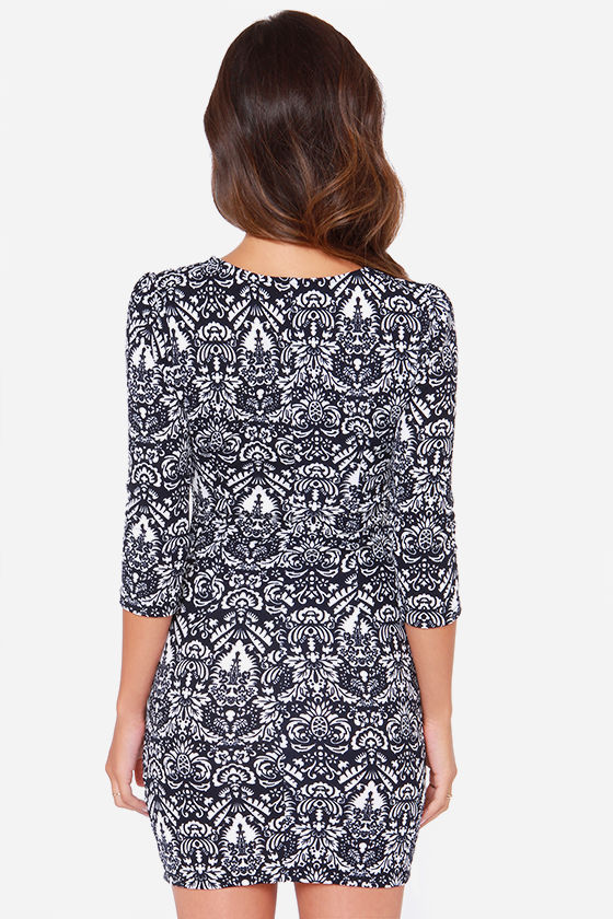 When In Monochrome Ivory and Navy Blue Print Dress at Lulus.com!
