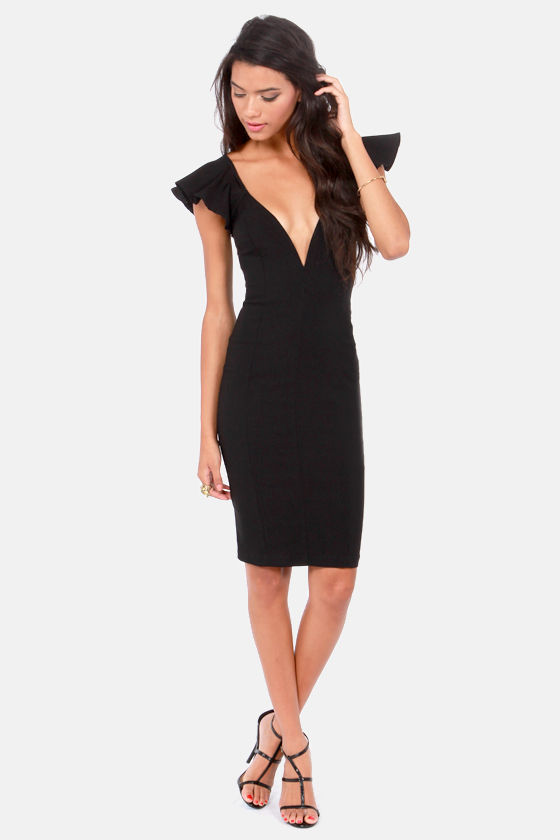 Ruffles Away Black Bodycon Dress at Lulus.com!