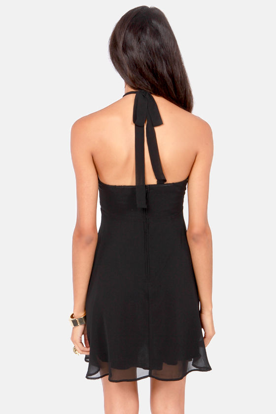 Prima Ballerina Flared Black Halter Dress at Lulus.com!