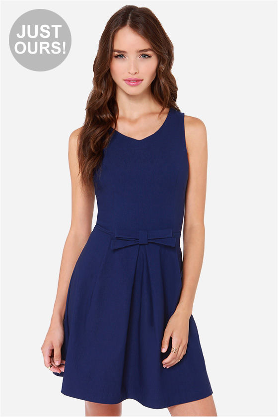 a7676957e7cdd Pretty Navy Blue Dress - Fit and Flare Dress - $39.00