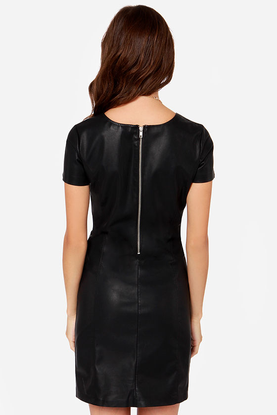 BB Dakota Dalrie Black Vegan Leather Dress at Lulus.com!