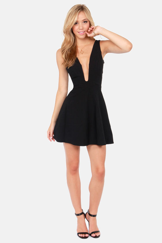 b415e44b13 Sexy Black Dress - Plunging Neckline Dress - Sleeveless Dress -  46.00