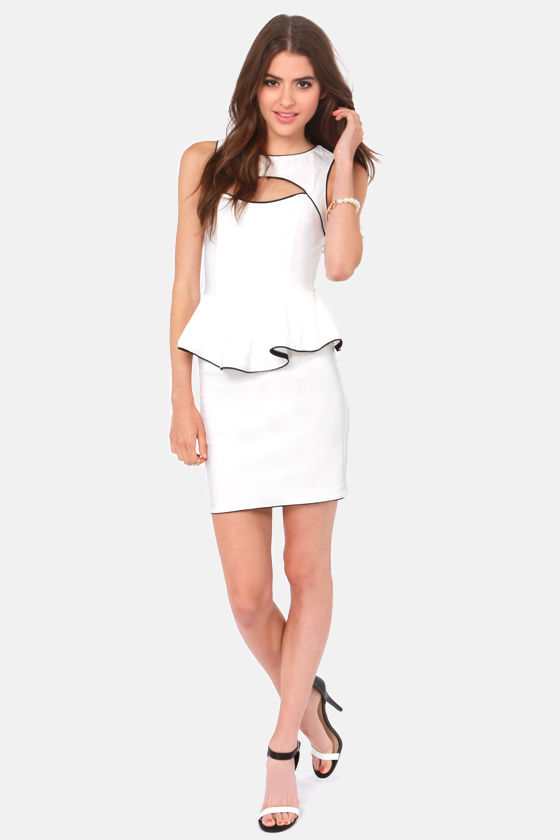 Best Side Story Ivory Peplum Dress at Lulus.com!