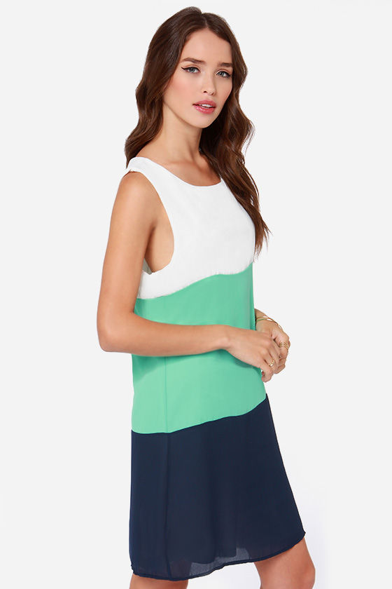 LULUS Exclusive Modern Medley Mint and Navy Blue Dress at Lulus.com!