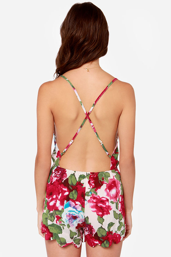 Ridin' Fleur-ty Ivory Floral Print Romper at Lulus.com!