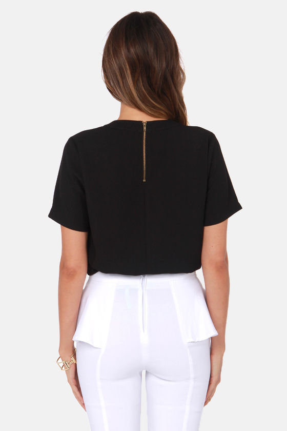 Chip Off Your Shoulder Black Top at Lulus.com!