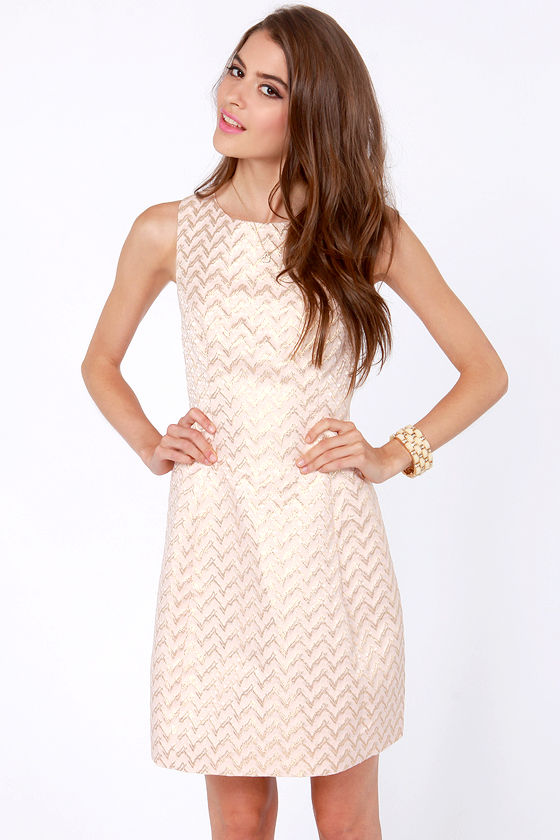 Brocade on a Curve Gold and Pink Dress at Lulus.com!