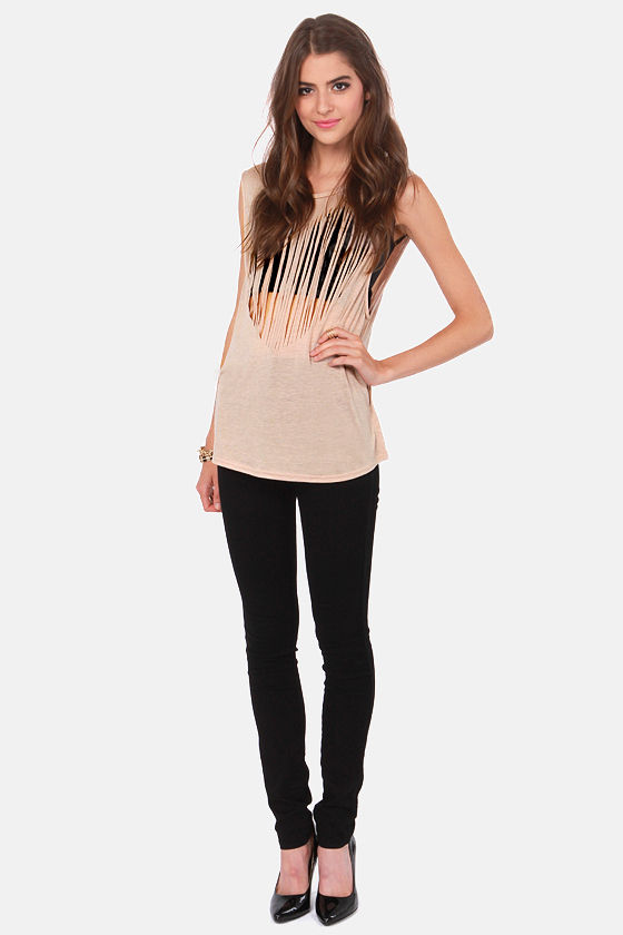 Fits Like a Love Blush Fringe Muscle Tee at Lulus.com!