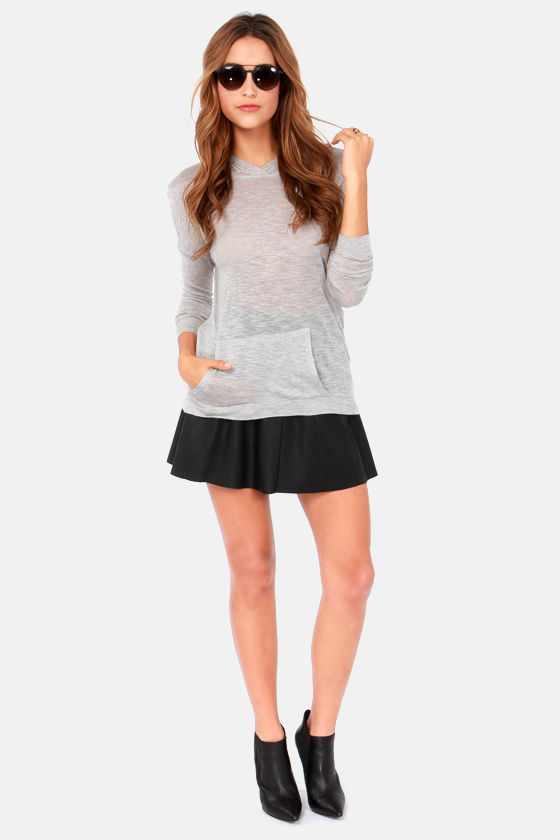 Cozy Up Grey Hooded Long Sleeve Top at Lulus.com!