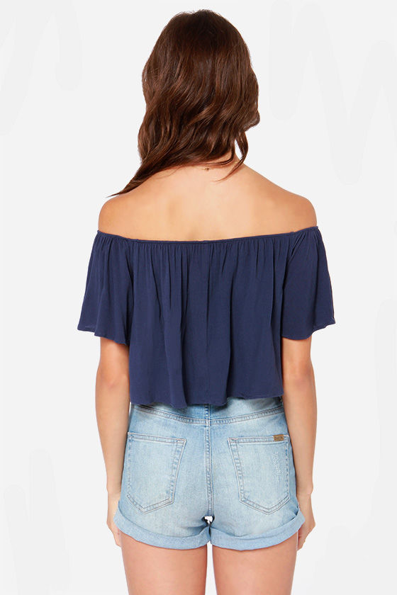 LULUS Exclusive Good Time Denim Blue Off-the-Shoulder Top at Lulus.com!