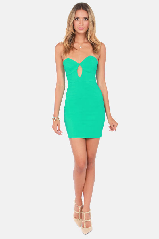 Sweetly Tempting Strapless Sea Green Dress at Lulus.com!