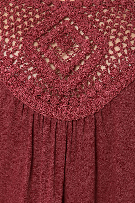 LULUS Exclusive Instant Karma Wine Red Crochet Top at Lulus.com!