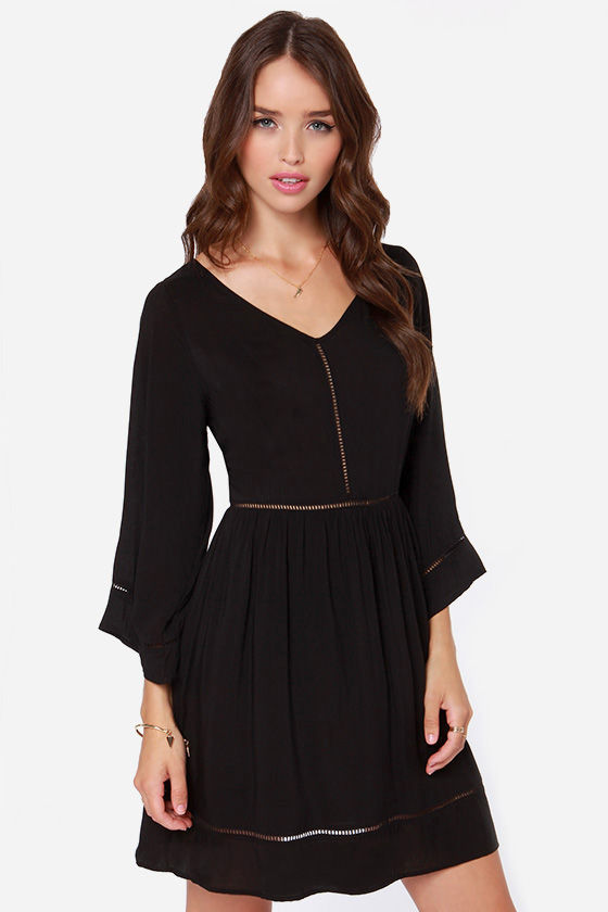 Long Sleeve Dress - Black Dress - Babydoll Dress - $57.00