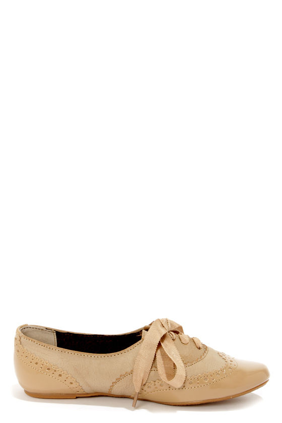 Not Rated Black Tie Cream Oxford Flats at Lulus.com!