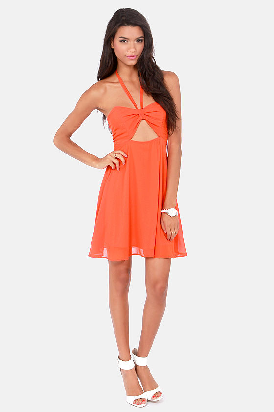 Sexy orange Dress - Halter Dress - Cutout Dress - $41.00