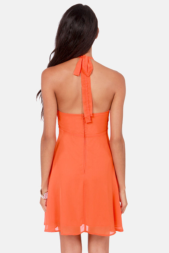 Prima Ballerina Flared Orange Halter Dress at Lulus.com!