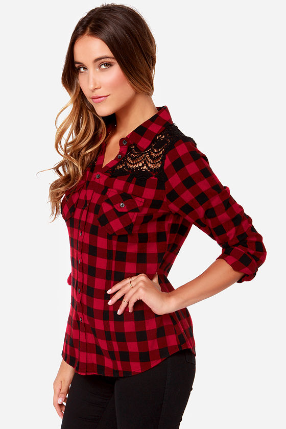 White Crow Offering Top Red Flannel Shirt Red Plaid
