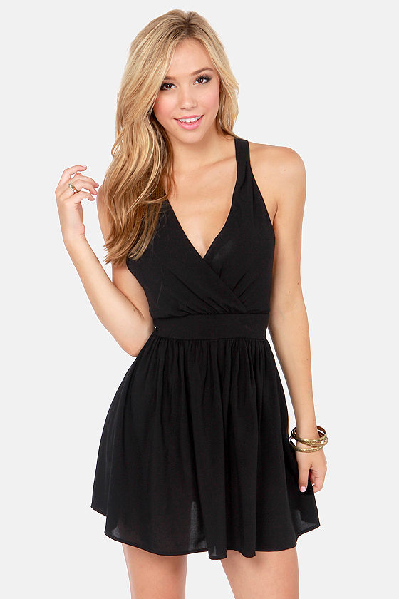 Crossing Lines Black Dress at Lulus.com!