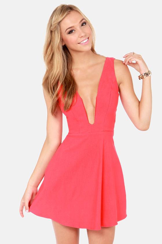 Sexy Coral Pink Dress Plunging Neckline Dress