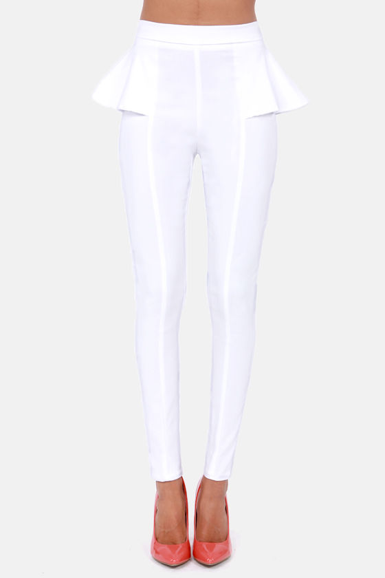 There's a Pep In Your Step White Peplum Pants at Lulus.com!