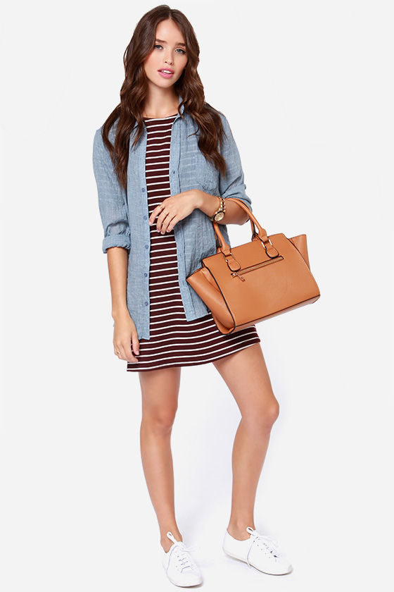 Law Bender Ivory and Burgundy Striped Dress at Lulus.com!