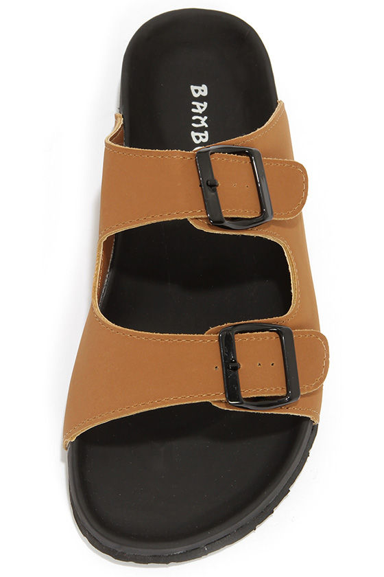 Bamboo Ringo 03 Chestnut Slide Sandals at Lulus.com!