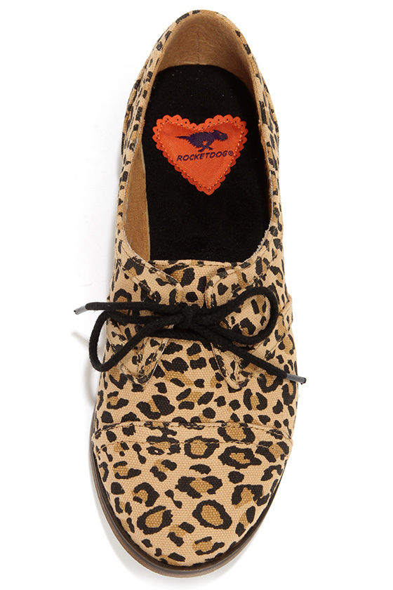 Rocket Dog Larissa Natural Leopard Print Oxford Flats at Lulus.com!