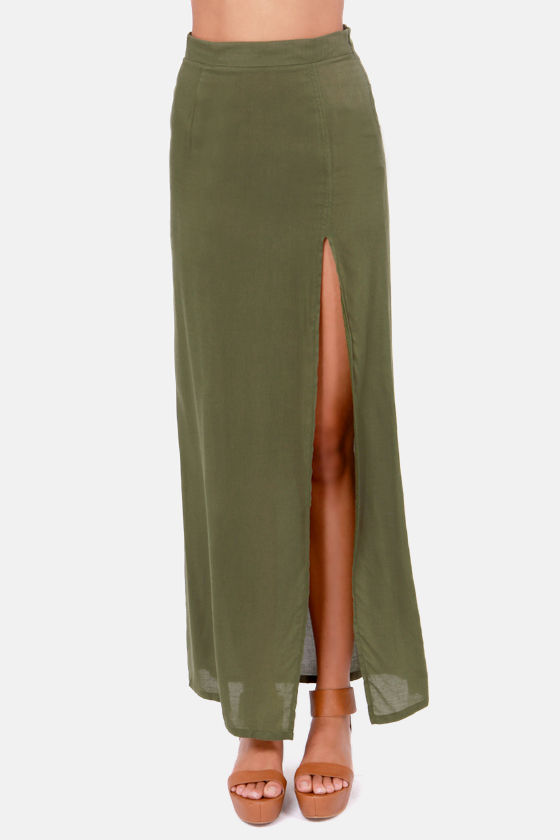 LULUS Exclusive Take It To The Max Olive Green Maxi Skirt at Lulus.com!