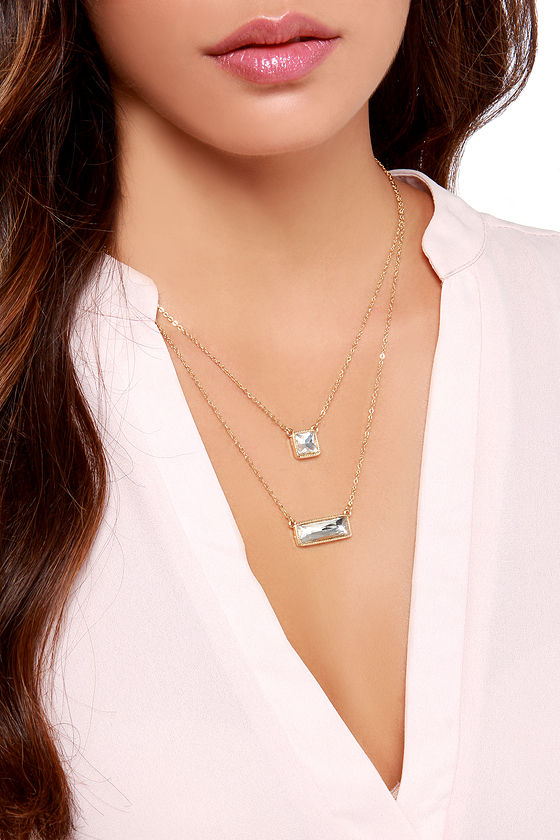 Breath of Fresh Layer Gold Rhinestone Necklace at Lulus.com!