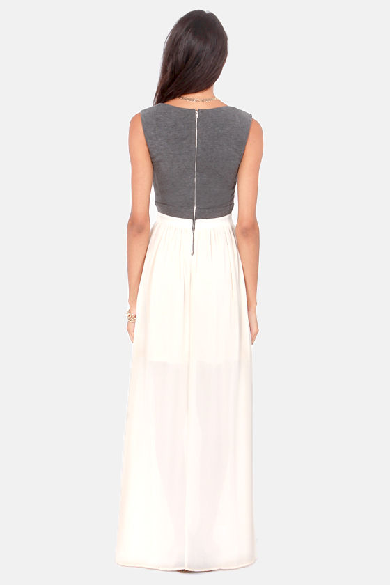 The Max of Life Cutout Grey and Cream Maxi Dress at Lulus.com!