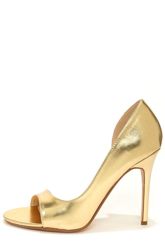 Cute Gold Heels - D'Orsay Heels - Peep Toe Heels - $31.00