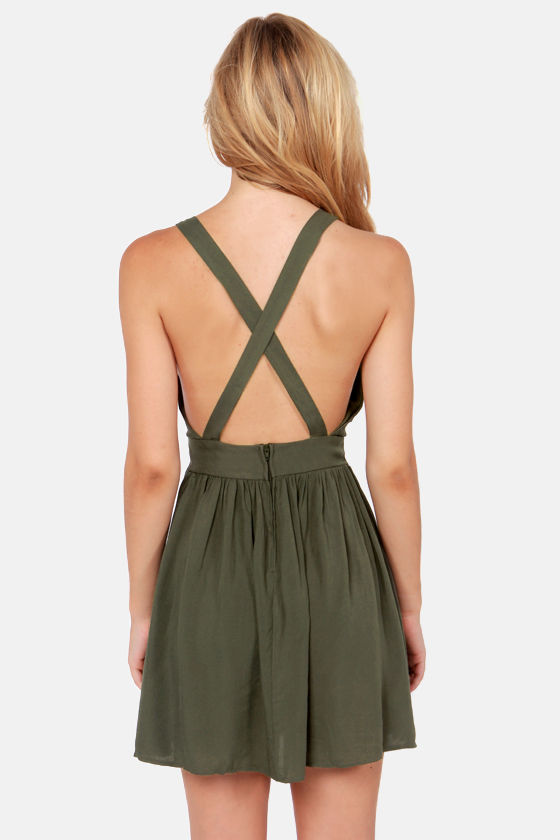 Crossing Lines Olive Green Dress at Lulus.com!