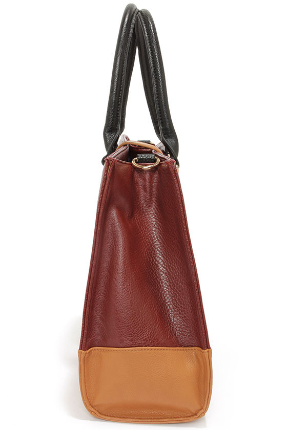 Around the Color Block Tan and Oxblood Tote at Lulus.com!