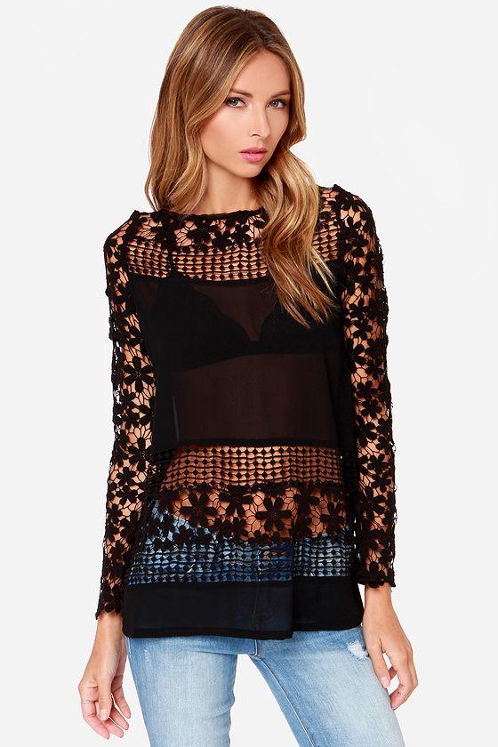 Black Crochet Top Black Lace Top Sheer Top 4900