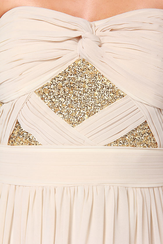 Stay Golden Strapless Light Beige Sequin Maxi Dress at Lulus.com!