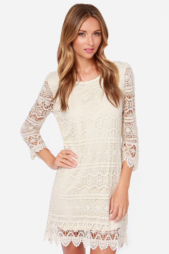 Cream colored lace dress with sleeves
