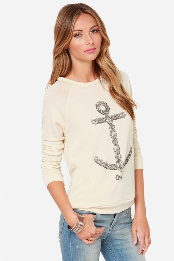 Obey Knit Anchor Print Cream Sweater at Lulus.com!