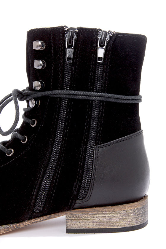 Mixx Shuz Cody 31 Black Suede Lace-Up Combat Boots at Lulus.com!