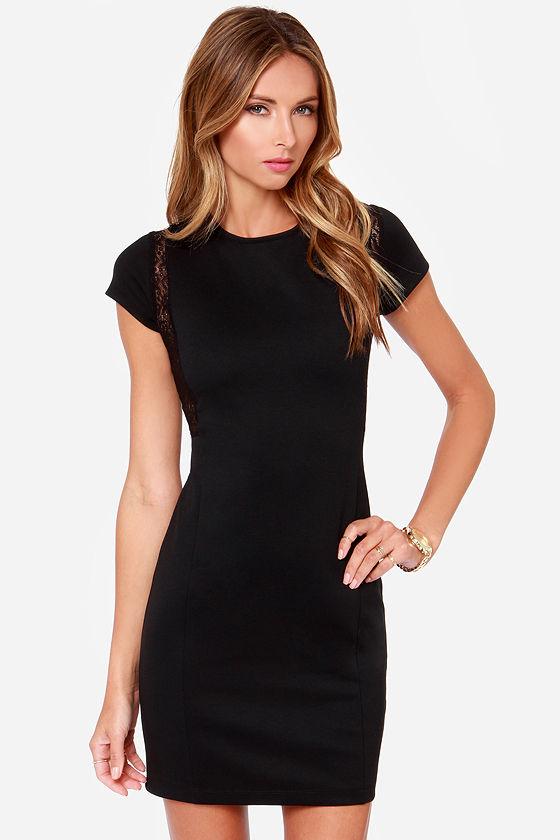 Black Swan Loren Dress - Black Lace Dress - Sheath Dress - $67.00