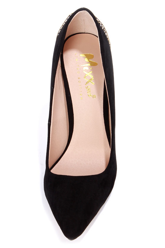 Mixx Shuz Eliza Black Kid Suede Gold Cage Pointed Pumps at Lulus.com!