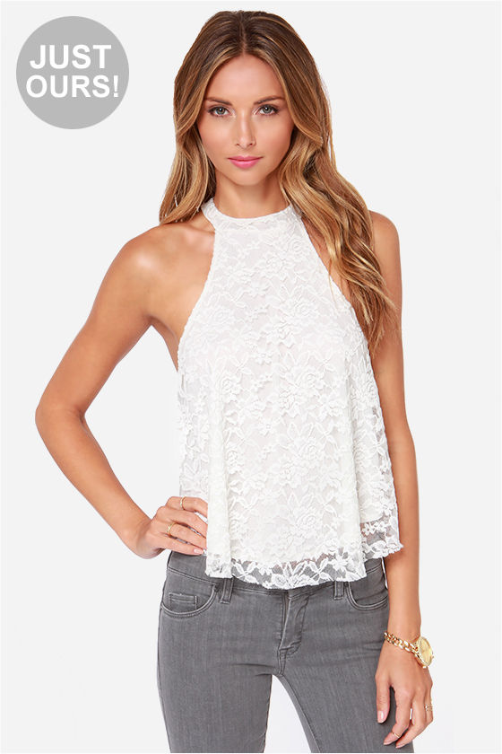 Ivory Lace Top - Halter Top - White Crop Top