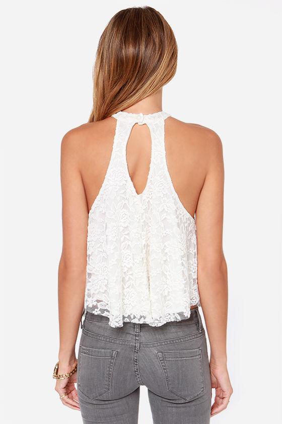 LULUS Exclusive Goodness Graces Ivory Lace Halter Top at Lulus.com!