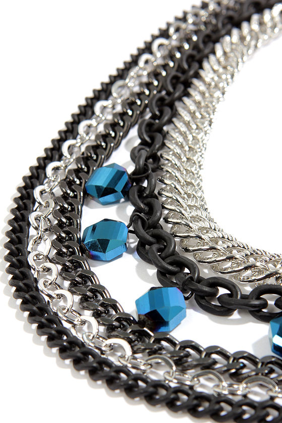 Chain of Heart Silver and Black Chain Necklace at Lulus.com!