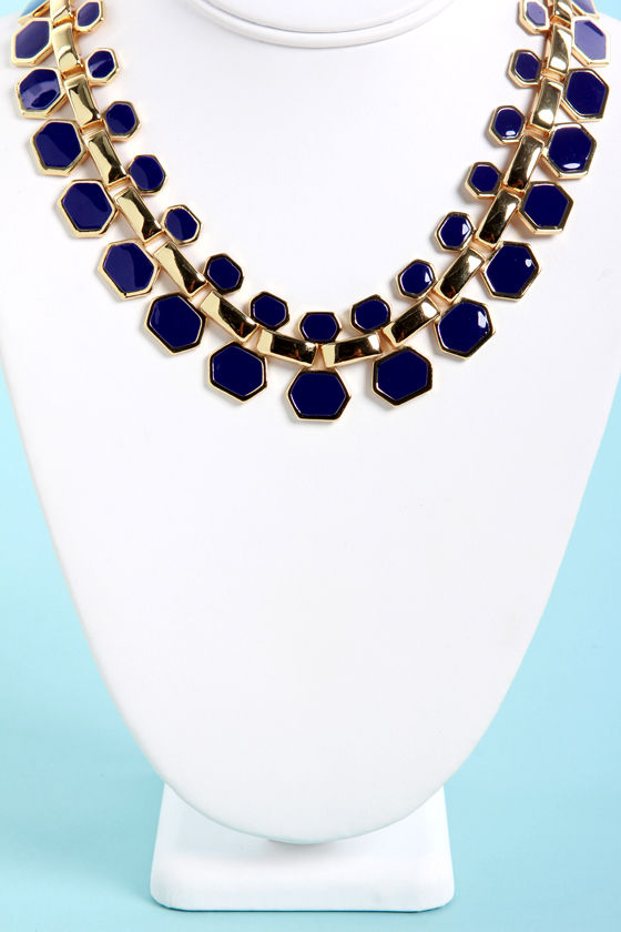 Collar Me Crazy Blue Necklace at Lulus.com!