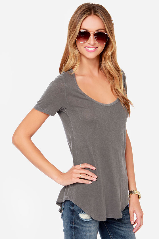 Obey Patti Washed Grey Scoop Neck Tee at Lulus.com!