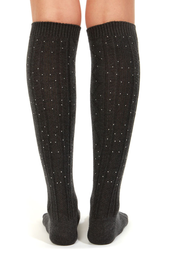 Stance Malibu Grey Studded Knee Socks at Lulus.com!