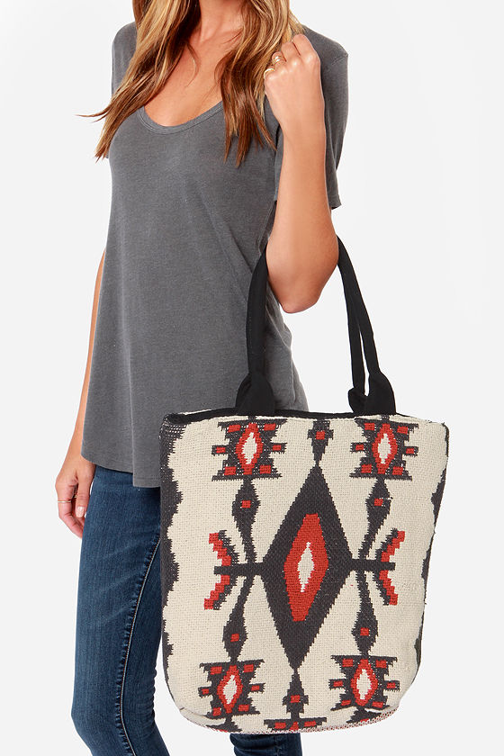 Billabong Absolute Wander Cream Southwest Print Tote at Lulus.com!
